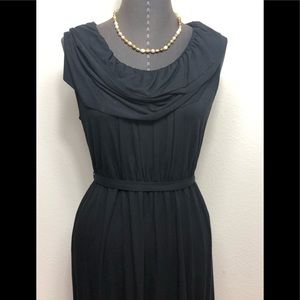J.crew Black Ruffled Neck Dress